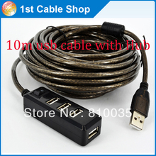 High speed USB2.0 Active extension cable 33ft 10M with 4-port HUb Built-in chipset Style