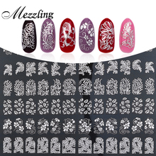 3D Nail Art Stickers Decals,108pcs/sheet High Quality Silver Metallic Mix Flowers Designs Nail Tips Accessories Decoration Tools