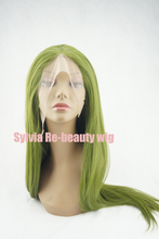 High Quality Olive Green Silky Straight Wigs Long Fashion Natural Look Glueless Synthetic Lace Front Wig Heat Resistant