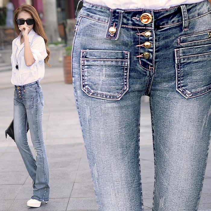 New Slim thin flared trousers Single-breasted Long Jeans women pants two colorsОдежда и ак�е��уары<br><br><br>Aliexpress
