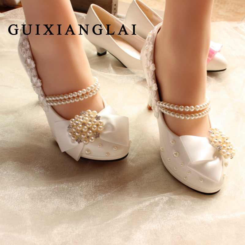 2016 Handmade Women Bridal Shoes lace Pearl Wedding Shoes White Bride Shoes Ladies High Heels shoes banquet dress Pumps Women <br>