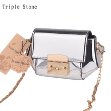 Triple Stone Clear Mirror Women Mini Chain Crossbody Bag Fashion Luxury Holographic Leather Messenger Bags Lady Handbag Purses