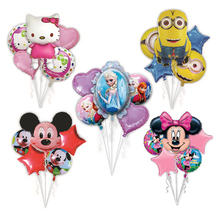 5pcs/set Kids Birthday Party Cartoon Decoration theme party Mylar Balloons Bouquet Elsa princess kitty mickey minnie minion