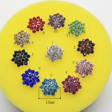 New 10pc 16mm Metal buttons Alloy Rhinestone button very beautiful decorate wedding invitations hair flower center scrapbooking
