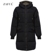 ZAFUL Women Hooded Casual Autumn Winter Feather Fill Parka Pockets Front Zip Closure Quilted Warm Feminino Down Ribbed Sleeves