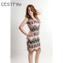 CESTFINI Fashion Flower Sleeveless Knitted Casual Dress Women Cutton Party Dress Ladies Short Pencil VestidosD-003(China)