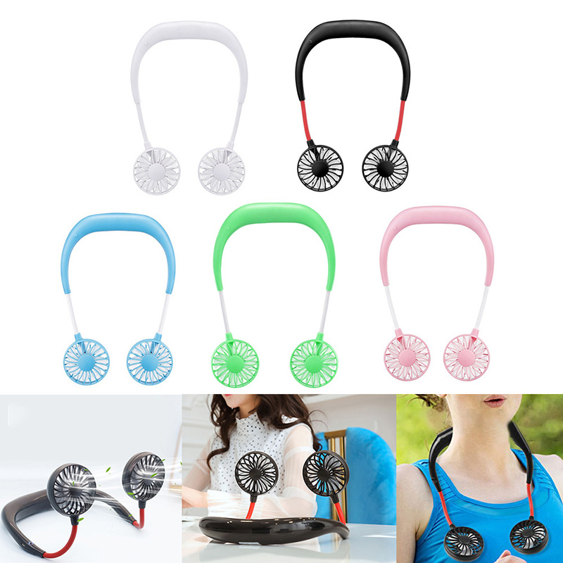 Portable Fans Hand Free Neckband Fans With USB Rechargeable Battery Operated Dual Wind Head 3 Speed Adjustable For Traveling(China)