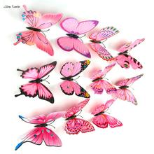 ISHOWTIENDA   2017 New Arrival 12PCS 3D Butterfly Wall Sticker Room Decor Decal Applique Home Decoration Accessories Stickers