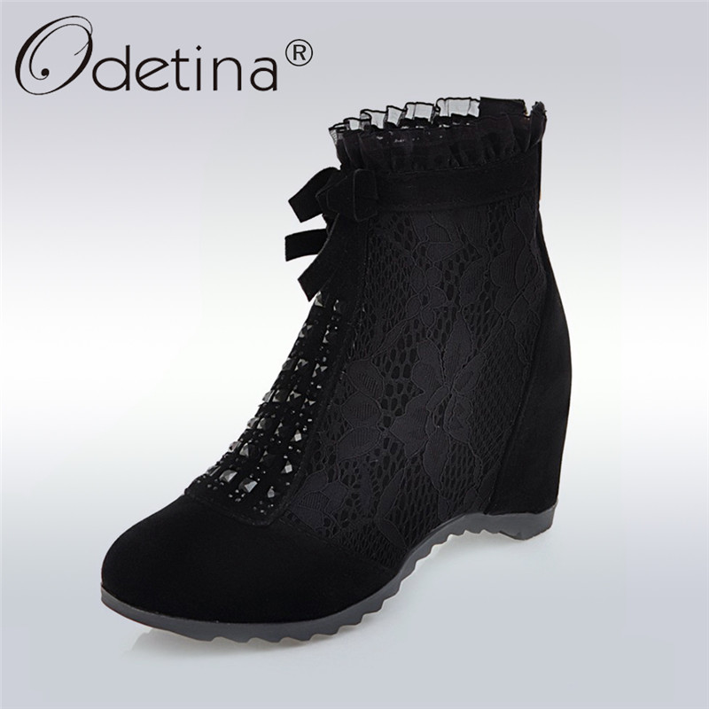 Odetina 2018 New Fashion Mesh Booties For Women Bowknot Wedges High Heels Shoes Female Ruffles Booties With Zip Big Size 34-43<br>