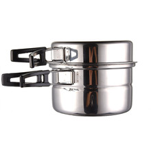 3pcs Outdoor Stainless Steel Pot Pans Foldable Handle Picnic Portable Cookware Outdoor Camping Tableware with Steam Bracket(China)