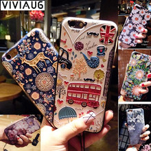2017 Fashion Luxury Floral Painted 3D Relief For iPhone 6 6S plus Case Beauty Flower Cell Cover for iphone 7 7plus Phone Cases(China)