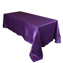 Purple color 5pcs/ Pack 90 x 132 inch Rectangular Satin Tablecloth Table Cover for Wedding Party Restaurant Banquet Decorations(China)