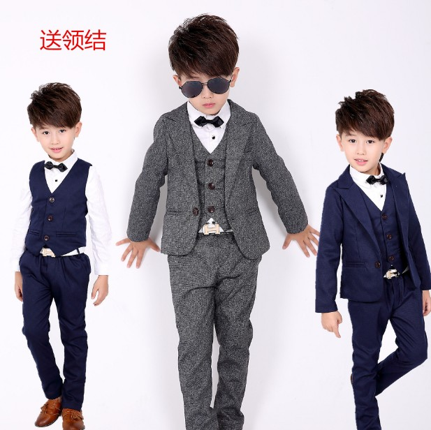 2-12Y new 2016 autumn winter boys high quality gentlemen blazer clothing set 3pcs boys full dress clothes set boys dress suit<br>