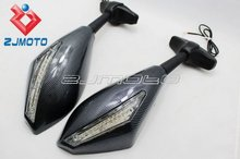 Motorcycle Carbon LED Turn Signals mirrors For Ducati 1098 Bandit GSF650 GSX650F GSF650S Aprilia RSV1000R RSV 1000R Factory