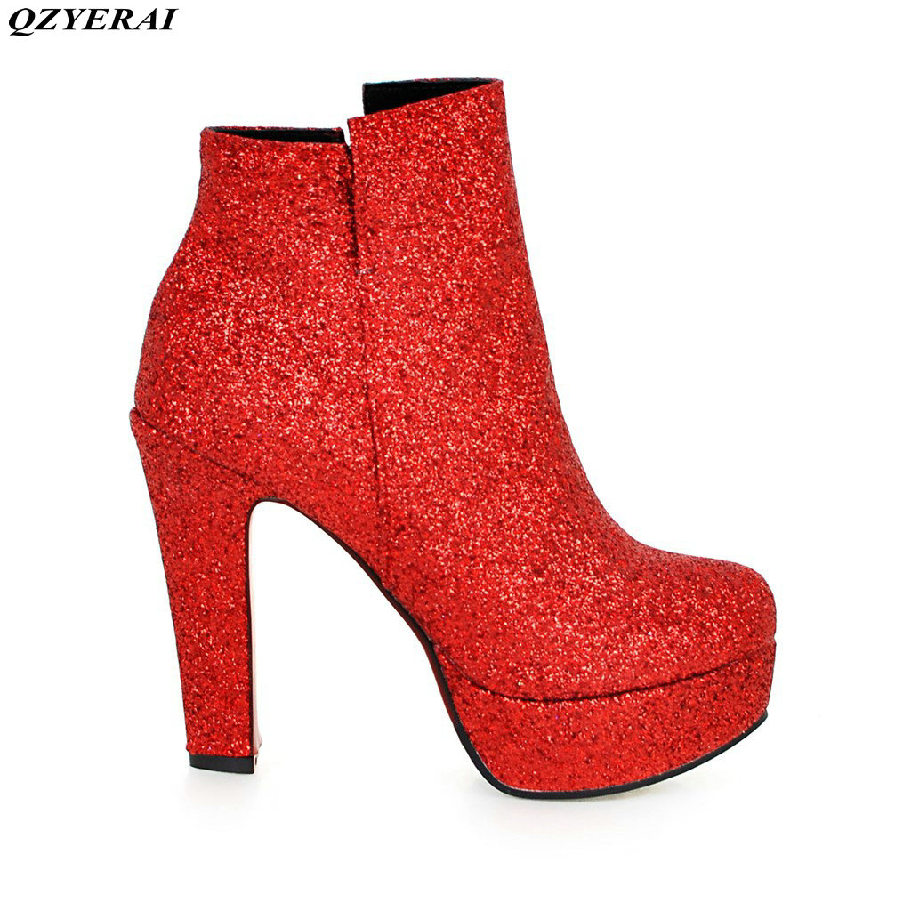 European Designers Brand Women Ankle Boots Heels Female Shoes Woman Autumn Glitter Lace up Boots Casual  Pink<br>