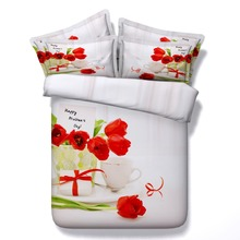 6 Parts Per Set Bed Sheet Set New Mothers Day Red Tulips and Gift Hd Digital 3d bed set