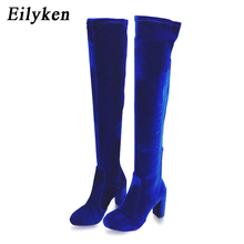 Eilyken 2017 Winter Platform high heels Blue Red Velvet Boots For Woman Over the Knee Square heel Stretch Boots Long Women shoes(China)