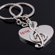 2 pcs/lot Lovers Gift keychain Couple Love Heart Musical Note key chain Key Ring Free Shipping