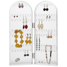 Two panel hinged Clear Acrylic Jewelry Display earring holder jewelry organizer