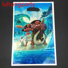6pcs Cartoon moana theme PE printed plastic candy bags,shopping gift bag for Kids happy birthday event party supplies