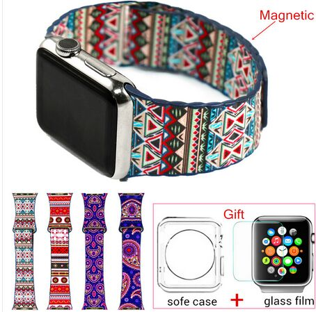 Fashion Bohemian Leather Loop Watchband for iwatch bands Strap Magnetic Stainless steel Buckle for Apple Watch 38mm 42mm<br><br>Aliexpress