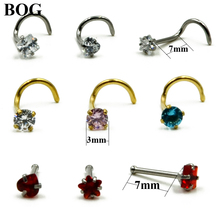 BOG-1piece Prong Set 3mm Zircon Gem Twist Curve Screw Nose Nostril Piercing Ring Stud Nail Piercing Body Jewelry 20g