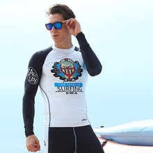 2016 High Quality Character Rash Guard Suit For Men UV Protection Long Sleeves Windsurf Surfing Swimsuit Swimwear Swimming Shirt
