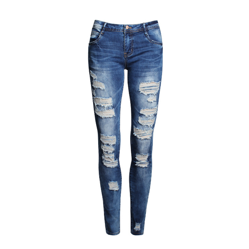 Fall 2017 new women cultivate ones morality show thin burrs pencil pants ripped jeans and feet female jeansОдежда и ак�е��уары<br><br><br>Aliexpress