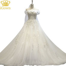 iGown Vestido De Noiva Luxury Lace Flower Beading Long Trailing The Princess Bride Sexy Cap Sleeve Wedding Dresses
