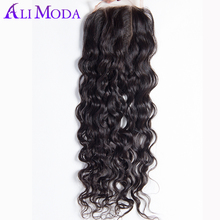Ali Moda Malaysian Water Wave 4x4'' Swiss Lace Closure 100% Human Hair Closure Natural Black Free Part Remy Hair Free Shipping