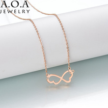 New Design Two Butterfly Necklace Cute Bowknot Chain Link Collarbone Necklace For Etsy Women Kolye(China)