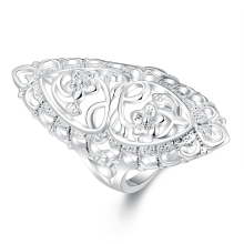 Beautiful Retre flower style SILVER ring women cute noble pretty fashion Wedding silver Plated NICE women Lady Ring jewelry R698(China)