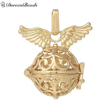 DoreenBeads Copper Wish Box Pendants Round Gold/Silver color Angel Wing Hollow Can Open (Fit Bead Size: 18mm) 37mm x 31mm, 1 PC