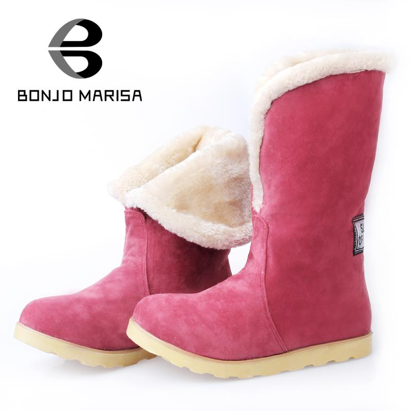 BONJOMARISA Snow Warm Fur Boots Women Fashion Flat Heel Platform Winter Shoes Round Toe Winter Mid-calf Boots Big Size 34-43<br><br>Aliexpress