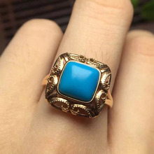 2.05ct gold weight 3.060grams up class 18k gold fine jewelry blue natural US turquoise ring for women(China)