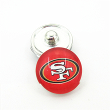20pcs/lot San Francisco 49ers NFL Teams Snap Buttons DIY 18mm Glass Football Sports Ginger Snap Jewelry Bracelets&Bangles