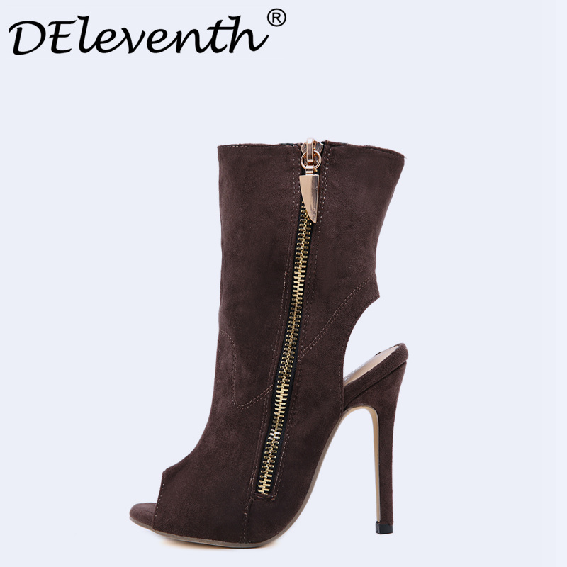 2017 Stylish Womens Spring Zip Boots Casual Faux Suede Ankle Boots Stiletto High Heels Peep Toe Street beat Women Boots US8.5<br>