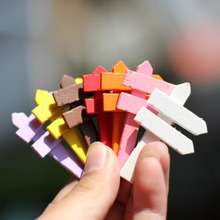 10PCS DIY Artificial Miniature Fingerpost Wood Crafts Colorful Street Sign Garden Tools Crafts Making Signpost Art Gift