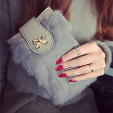 New Women's Small Messenger Bags  Fur Clutch with Bow Mobilephone shoulder bag free shipping