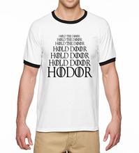 New Arrival 2017 Summer Hip Hop Tshirt Game Of Thrones Hodor Hold The Door Ringer t-Shirts Men 100% Cotton Casual Men T Shirt