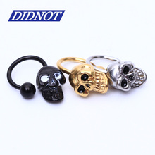 1pcs Skull Stainless Steel Nose Lip Eyebrow Ear Cartilage Helix Captive Hoop Ring Labret Horseshoe body Piercing jewelry