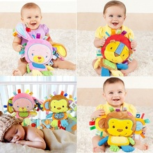 8 Styles Baby Toys Rattles Pacify Doll Plush Baby Rattles Toys Animal Hand Bells Newbron Animal elephant/monkey/lion/rabbit(China)