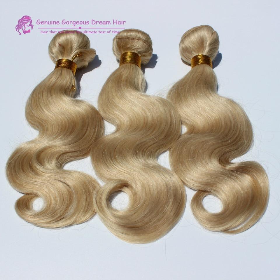 613 Blonde Virgin Hair 7A Body Wave Brazilian Hair Bleach Blonde Brazilian Hair Weave 3 Bundles Platinum Blonde Remy Human Hair<br><br>Aliexpress