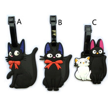 Kiki's Delivery Service Suitcase Luggage Tag Dark Cat ID Address Holder Baggage Label Silica Gel Identify Travel Accessories