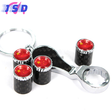 Car Styling Auto Parts Wheel Tire Valve Stem Caps Key Chain with China Flag logo for Honda Toyota rav4 Buick Audi a3 Lexus Jeep(China)
