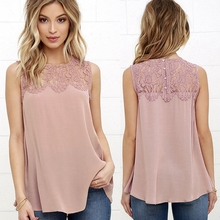 2017 Summer Office Women Shirts Pink White Floral Lace Chiffon Blouse Shirt Sleeveless Top Blouses Shirts Female Crochet Tops