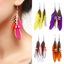 LNRRABC Bohemia Measle Long Pattern Peacock Feathers Women Exotic Trendy Drop Earrings Fashion Jewelry(China)