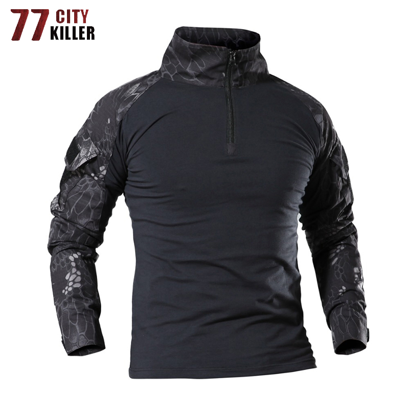 77City Killer Tactical Army T-Shirt Men Combat Camouflage T Shirt Military Force Multicam Camo Long Sleeve Hunt T Shirts S-4XL