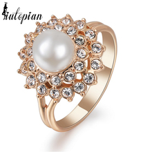 Iutopian Brand Simulated Pearl Ring For Women With Austrian Crystal Stellux Wedding Jewelry Party Jewelry #RG92510(China)
