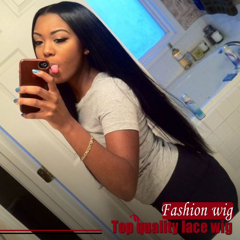2017 Hot Sale Silky Straight Synthetic Lace Front Wig 16-24 Heat Resistant Glueless Lace Front Synthetic Wig for Black Women<br><br>Aliexpress